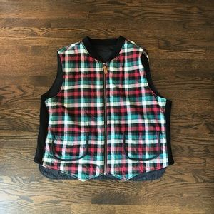 eddie bauer ebtek Reversible vest plaid black 2XL